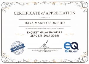 Enquest Certificate for Daya Maxflo 2018