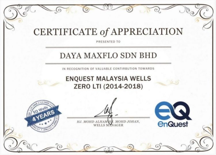 Enquest Certificate 2018.