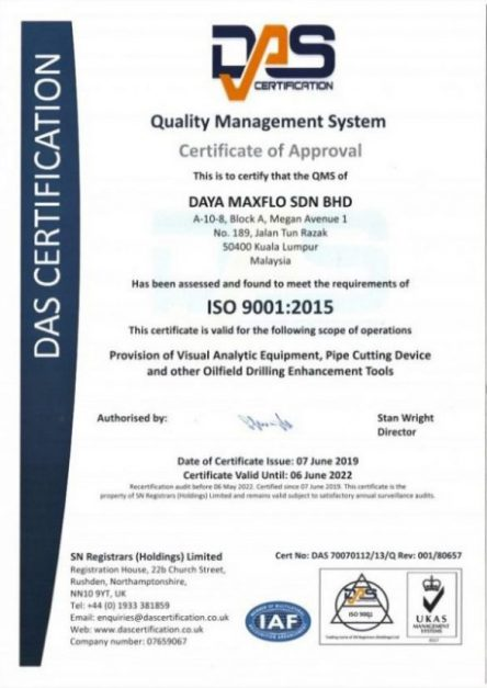 ISO 90012015 Certificate.