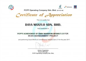 PCPP Certificate for Daya Maxflo 2017